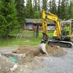 Minigrävare inne i Björnliden